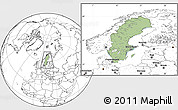 Savanna Style Location Map of Sweden, blank outside
