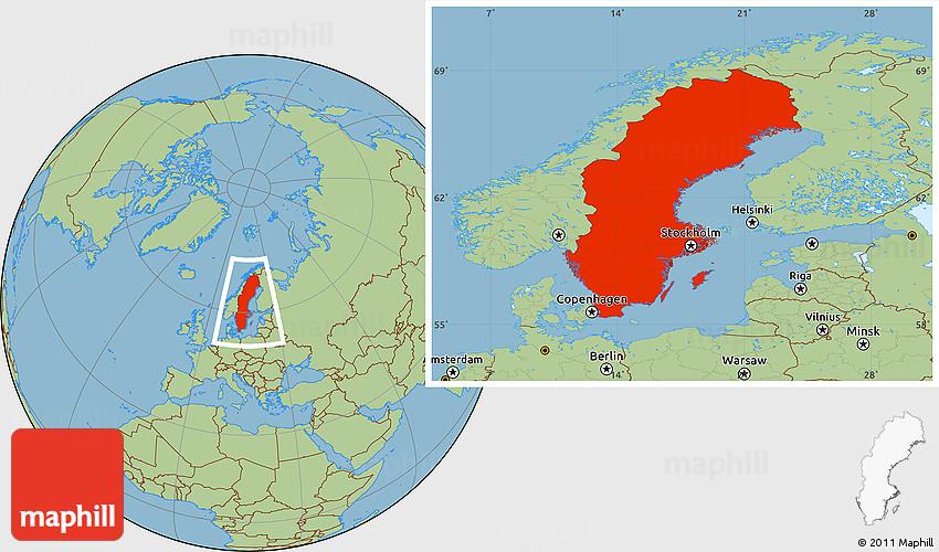 Savanna Style Location Map Of Sweden - Sweden map location