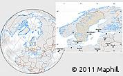 Shaded Relief Location Map of Sweden, lighten, desaturated