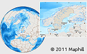 Shaded Relief Location Map of Sweden, lighten, land only