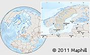 Shaded Relief Location Map of Sweden, lighten