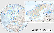 Shaded Relief Location Map of Sweden, lighten, semi-desaturated