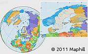 Shaded Relief Location Map of Sweden, political outside