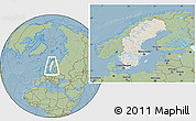 Shaded Relief Location Map of Sweden, savanna style outside, hill shading