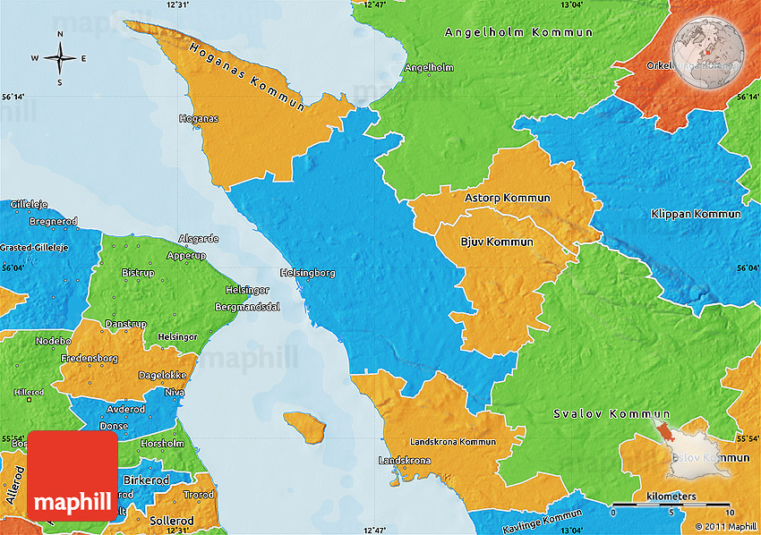 Political Map of Helsingborg Kommun