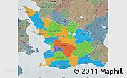 Political Map of Malmöhus Län, semi-desaturated