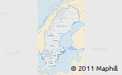 Classic Style Map of Sweden, single color outside