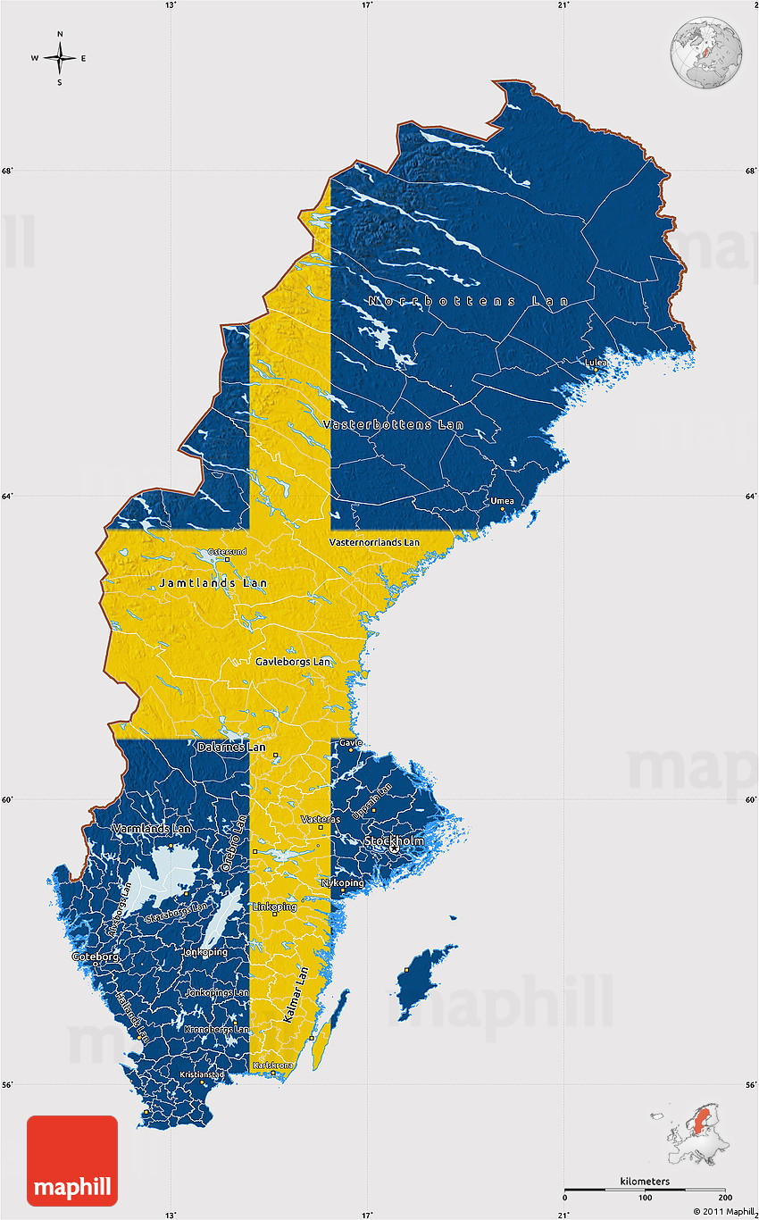 Flag Map Of Sweden - Sweden map of country
