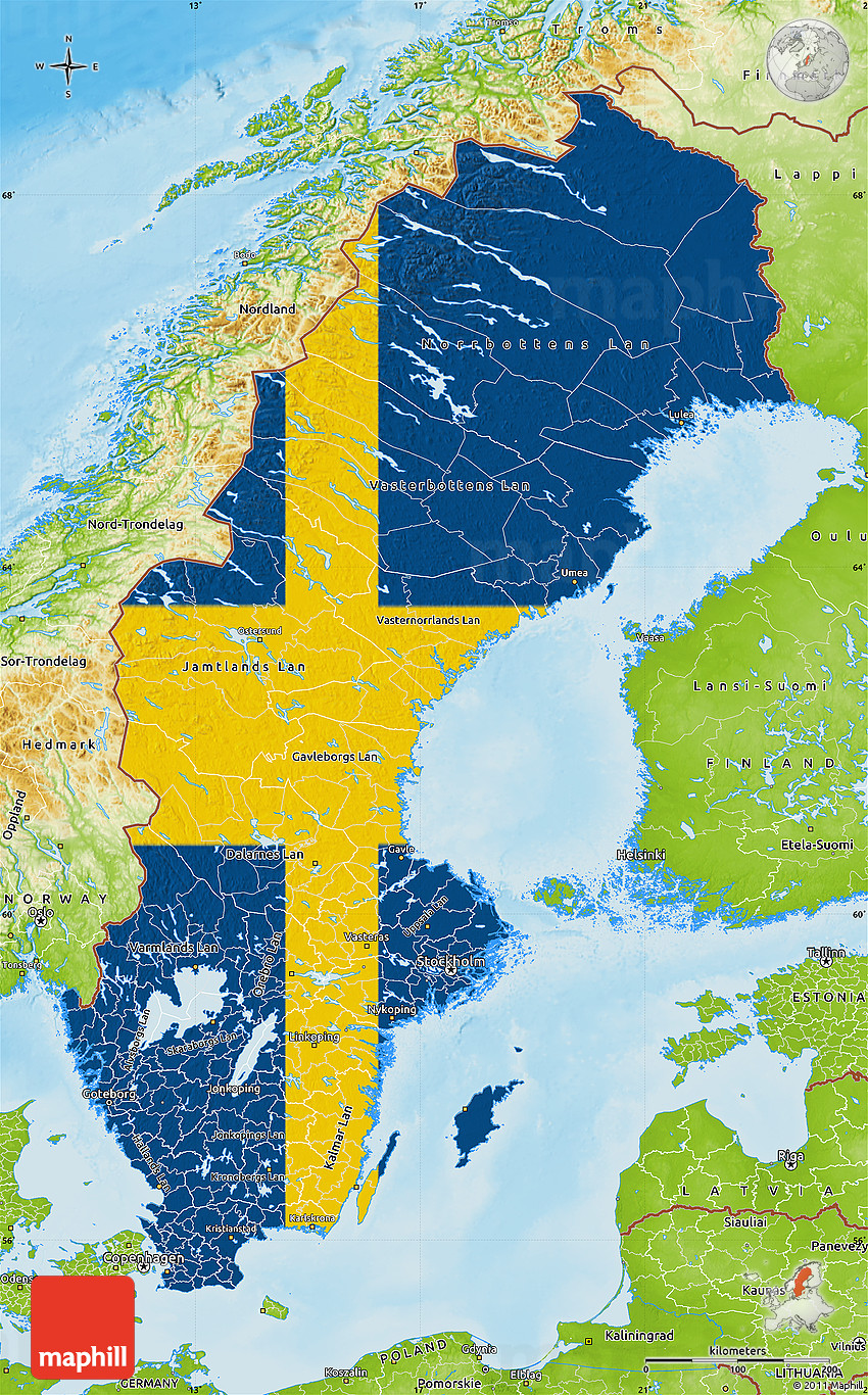 Flag Map Of Sweden Physical Outside - Sweden map topographic