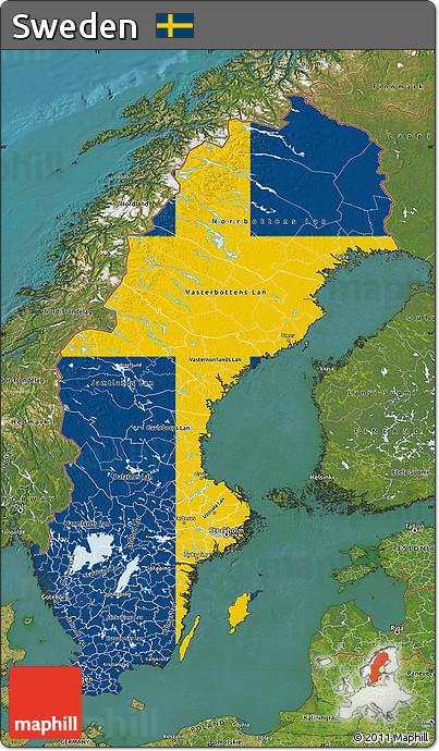 Free Flag Map Of Sweden Satellite Outside Flag Aligned To The Middle - Sweden map satellite