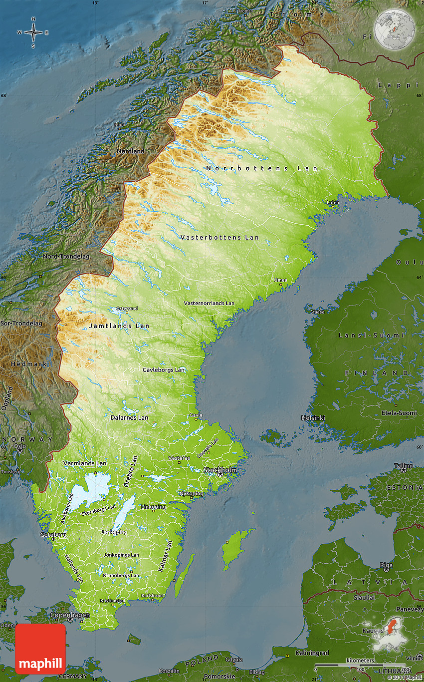 Physical Map Of Sweden Darken - Sweden map physical