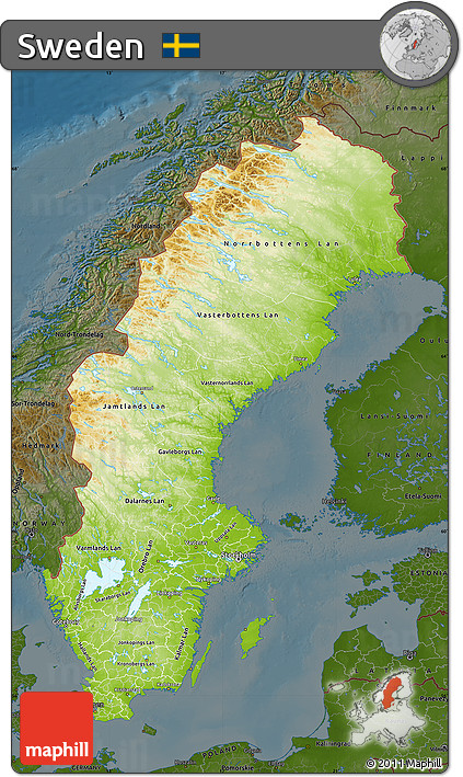 Free Physical Map Of Sweden Darken - Sweden map physical