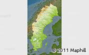 Physical Map of Sweden, darken