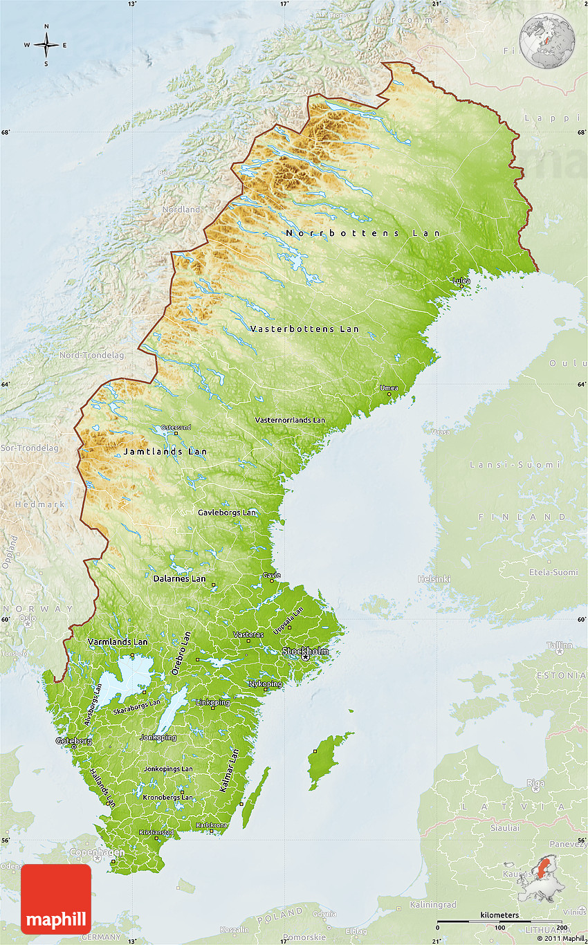 Physical Map Of Sweden Lighten - Sweden map topographic