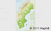 Physical Map of Sweden, lighten