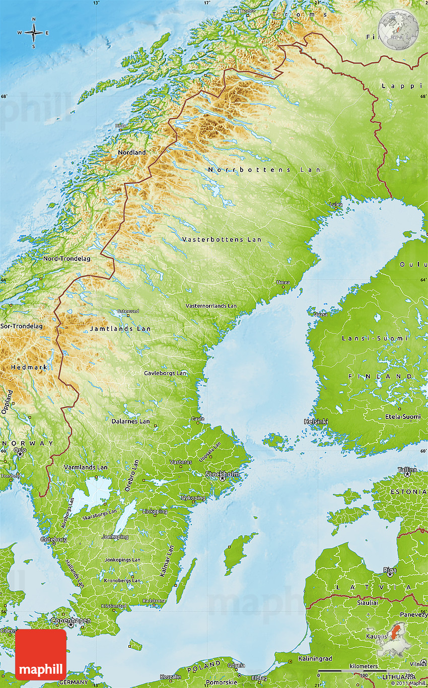 Physical Map Of Sweden - Sweden map jönköping