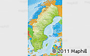 Physical Map of Sweden, political outside, shaded relief sea