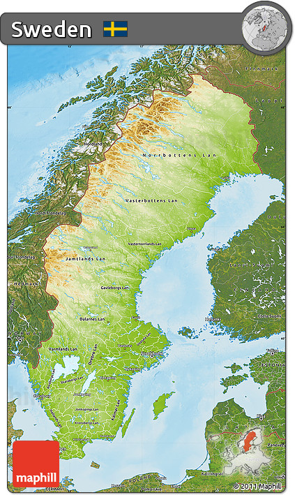 Free Physical Map Of Sweden Satellite Outside Shaded Relief Sea - Sweden map topographic