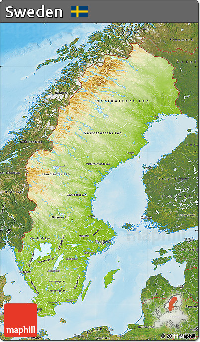 Free Physical Map Of Sweden Satellite Outside Shaded Relief Sea - Sweden map satellite