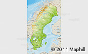 Physical Map of Sweden, shaded relief outside
