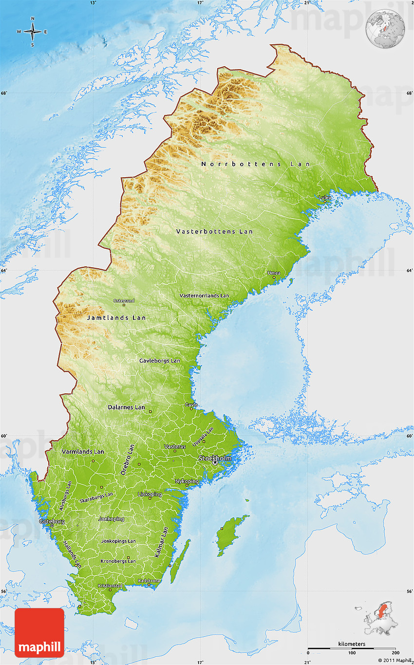 Physical Map Of Sweden Single Color Outside - Sweden map images