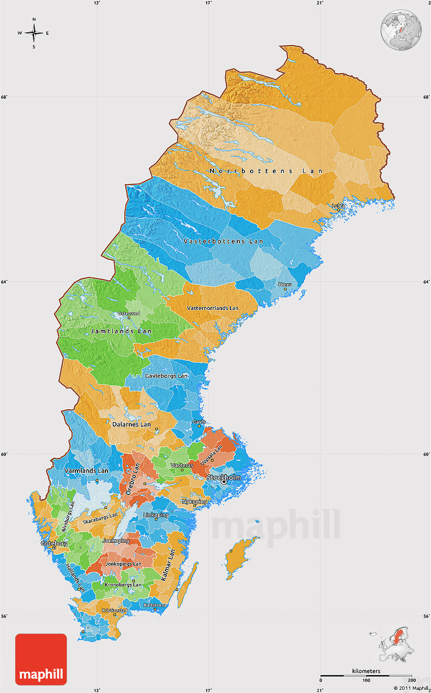 Political Map of Sweden cropped outside