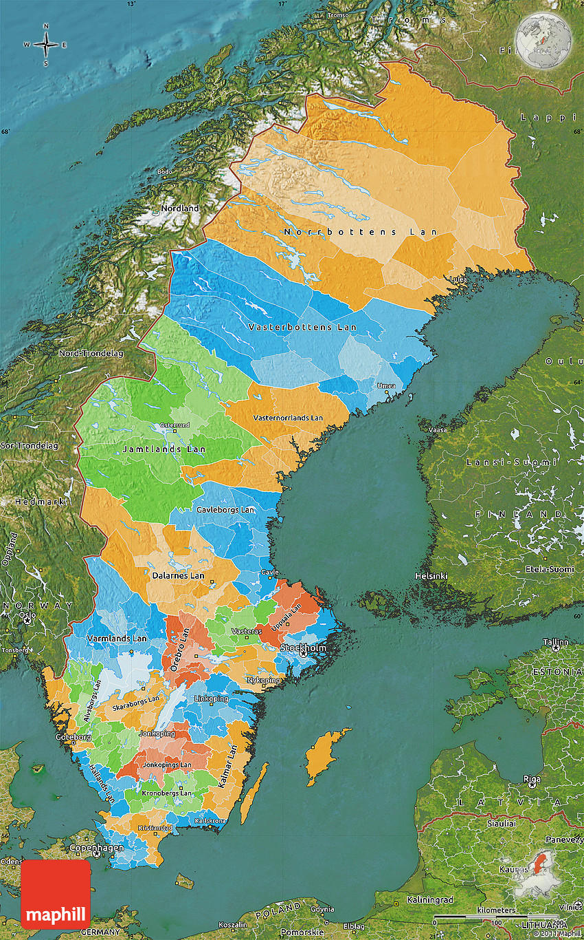 Political Map Of Sweden Satellite Outside - Sweden map physical