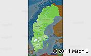 Political Shades Map of Sweden, darken