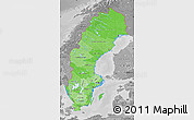 Political Shades Map of Sweden, desaturated