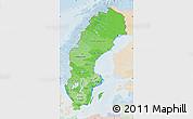 Political Shades Map of Sweden, lighten