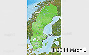 Political Shades Map of Sweden, satellite outside, bathymetry sea