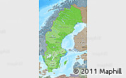 Political Shades Map of Sweden, semi-desaturated, land only