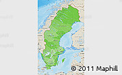 Political Shades Map of Sweden, shaded relief outside, bathymetry sea