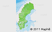 Political Shades Map of Sweden, single color outside
