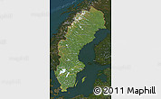 Satellite Map of Sweden, darken