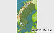 Satellite Map of Sweden, physical outside, satellite sea