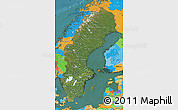 Satellite Map of Sweden, political outside, satellite sea
