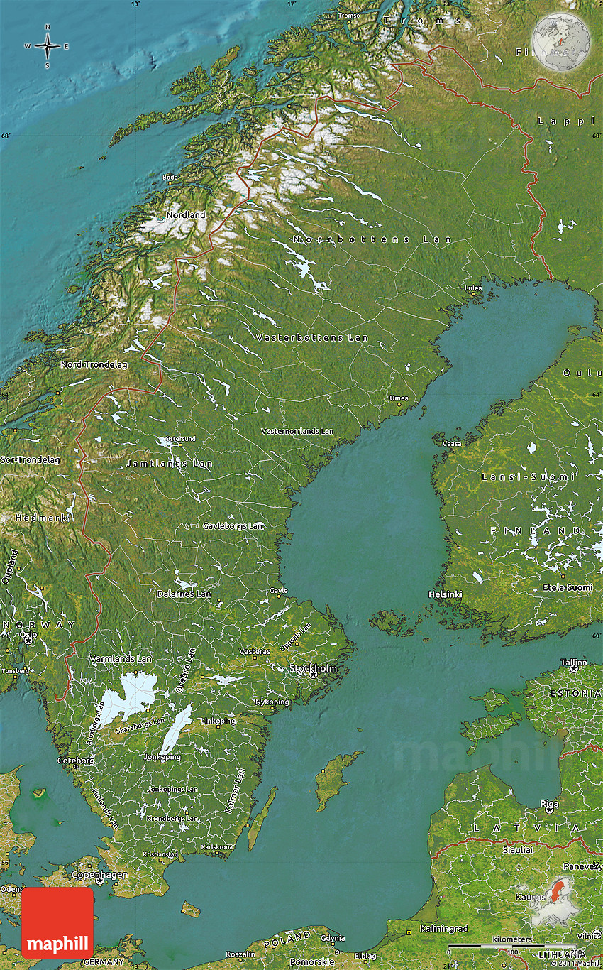 Scandinavia Satellite Images Reverse Search - Sweden map satellite