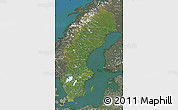 Satellite Map of Sweden, semi-desaturated, land only
