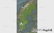 Satellite Map of Sweden, semi-desaturated