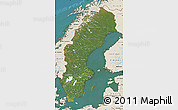 Satellite Map of Sweden, shaded relief outside, satellite sea