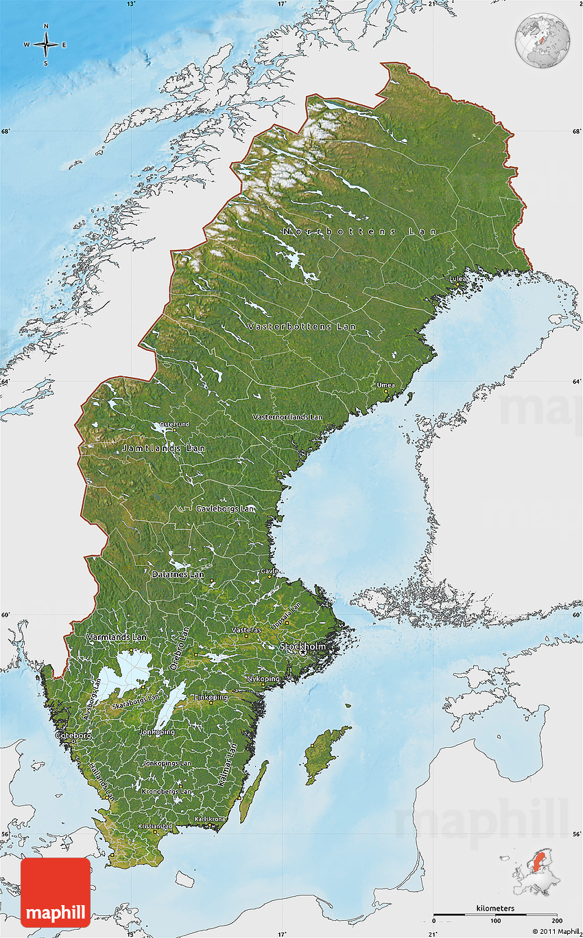 Satellite Map Of Sweden Single Color Outside Shaded Relief Sea - Sweden map satellite