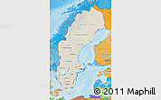 Shaded Relief Map of Sweden, political shades outside, shaded relief sea