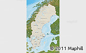 Shaded Relief Map of Sweden, satellite outside, shaded relief sea