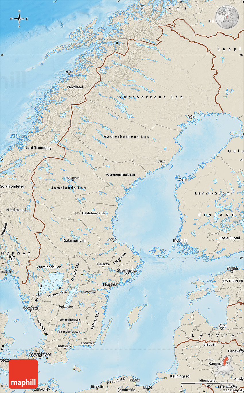 Shaded Relief Map Of Sweden - Sweden relief map