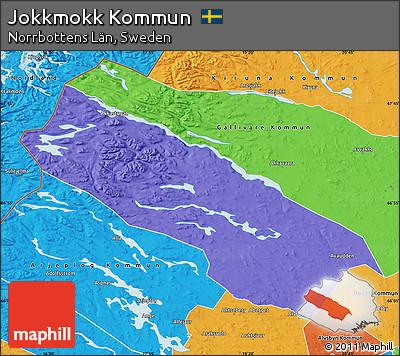 Free Political Map Of Jokkmokk Kommun - Jokkmokk sweden map
