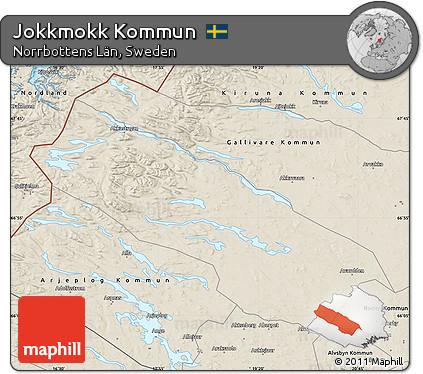 Free Shaded Relief Map Of Jokkmokk Kommun - Jokkmokk sweden map