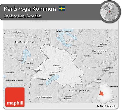 Free Silver Style D Map Of Karlskoga Kommun - Karlskoga sweden map