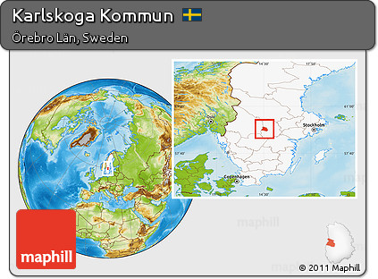 Free Physical Location Map Of Karlskoga Kommun Highlighted Country - Karlskoga sweden map