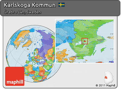 Free Political Location Map Of Karlskoga Kommun - Karlskoga sweden map